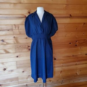 Vintage Unlabeled Navy Poly/Cotton Dress